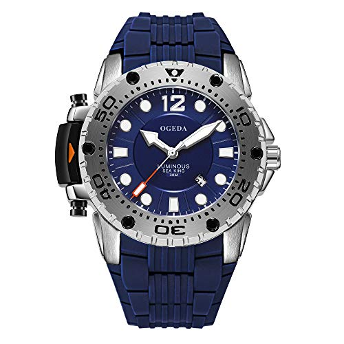 Men's Watches OGEDA Analog Quartz Watches Water-Resistant Silicone Strap Sports Military Wrist Watch Best Gift for Men (Blue)