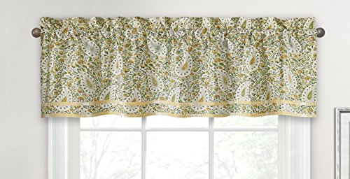 """WAVERLY Valances for Windows - Paisley Verveine 52"""" x 16"""" Short Curtain Valance Small Window Curtains Bathroom, Living Room and Kitchens, Spring"""