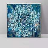 Mandala moderna Flor Arte de la pared Cartel de la lona Impresión Pintura de la lona Decoración de la habitación en la pared Sin marco 41x41cm