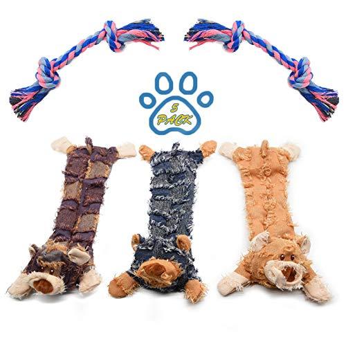 3 Hund Quietschspielzeug, 2 Hundeseile, Keine Füllung Hund Spielzeug, Plüsch Tier Hundespielzeug für Kleine Medium Hund