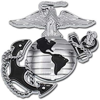 Elektroplate Marines Premium Anchor Black Chrome Auto Emblem