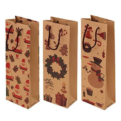 DOITOOL 3 bolsas de regalo de vino de Navidad para botellas de vino, delicado proceso de papel Kraft práctico organizador bolsas de papel (patrón aleatorio) Hmoe decoración