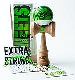 Sweets Kendamas Grain Split 2.0 Prime Kendama, Premium Skill Toy, Extra String Accessory Gift Bundle (Veggie)