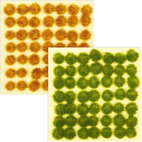 Blulu 98 Piezas Mechones de Hierba Estática Hierba Estática Autoadhesivo de 3 mm Hierba Artificial Ferroviaria Modelado Simulacro de Guerra Diorama Modelo Terreno