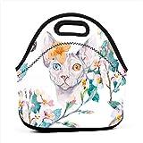 手描きパターンエレガントなスフィンクス猫とトロピカルネオプレンバッグ、スタイリッシュな防水ランチバッグ、トートバッグ、冷蔵バッグ、暖かいバッグ