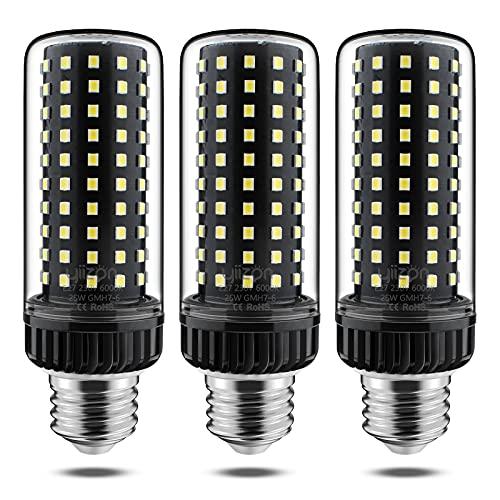 Yiizon LED E27 25W lampadine a candela, 200W equivalenti a incandescenza, 6000K Bianca Freddo Lampadine Candelabri E27, 2500LM, Vite Edison Lampadine Mais 3-Pacco