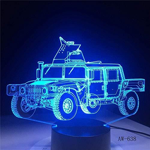 Lámpara de ilusión 3D Luz de Noche LED Modelo de Tanque RC Creativo Coche Jeep Militar Cama Colorida Visual niños Lámpara de Mesa para niños