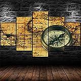 Cuadro En Lienzo 200X100Cm Antigua Brújula Vintage En Mapa Antiguo Impresión De 5 Piezas Material Tejido No Tejido Impresión Artística Imagen Gráfica Decor Pared