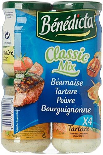 Bénédicta Benedicta Mezcla Clásica 4 Salsas Bearnesa, Tartare, Poivre, Bourguignonne 4 X 80 G