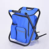 Sokey Extra Large Collapsible Camping Seat 14x11.5x16 Inches,Fishing Backpack Stool with Insulated Ice Bag,Blue