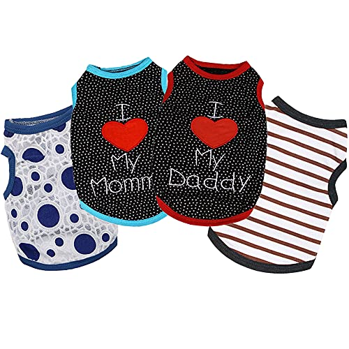 Sebaoyu 4 Pack Dog Clothes for Small Dogs Girl Boy-French Bulldog Yorkie Clothes Outfit-Puppy Clothes for Medium Large Doggie-Cat Vest-Cute Pet Apparel-Summer Puppy Shirt (Small/3.3-5.5 lbs)