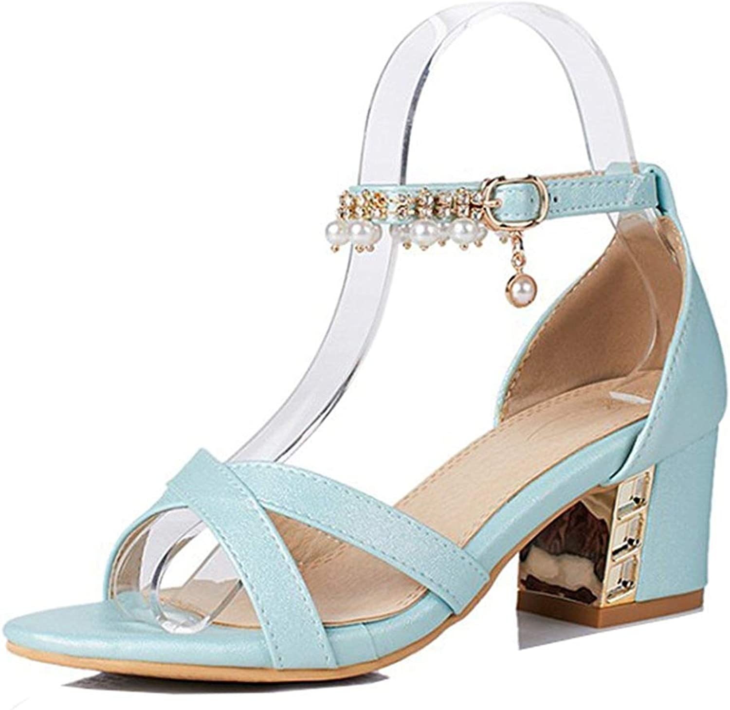 Unm Women's Fashion Beaded Rhinestone Dressy Buckled Medium Block Heel Open Toe Sandals with Ankle Strap