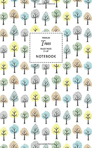Trees Notebook - Ruled Pages - 5x8 Notizbuch - Premium (White)