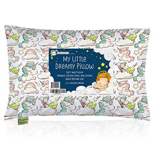 Oreiller pour bébé avec taie d'oreiller - 13x18 oreiller pour bébé en coton biologique doux pour dormir - lavable en machine - pour les tout-petits, les enfants, les nourrissons (Unicorn Dreams)