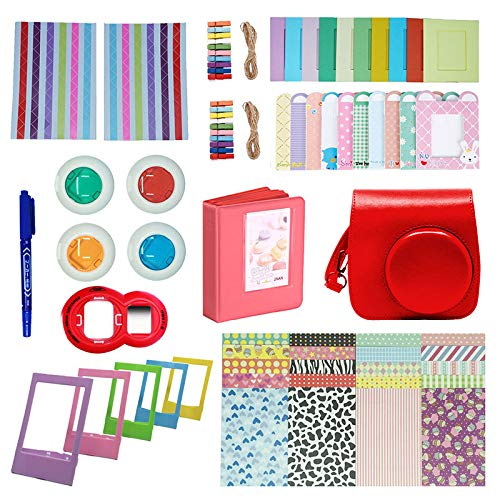 SSSabsir Camera Accessories Compatible with Instax Mini 9 or Mini 8 8+ Include Case/Album/Selfie Lens/Filters/Wall Hang Frames/Film Frames/Border Stickers/Corner Stickers red