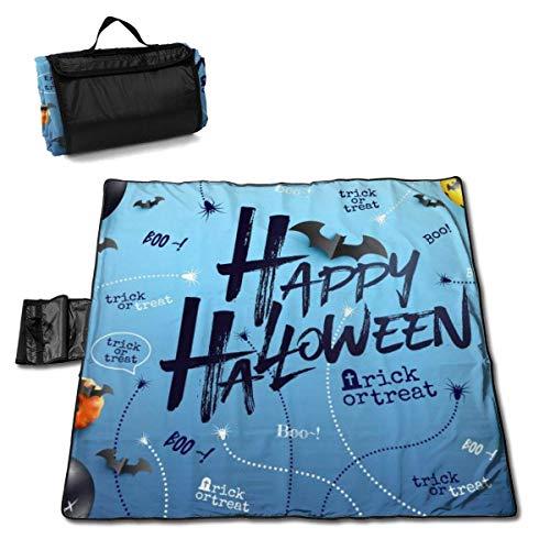 ClownFish Grande Estera de Picnic 57 * 59 In with Respaldo Impermeable para Camping de Picnic al Aire Libre,Happy Halloween Background with Halloween Ghost Balloons
