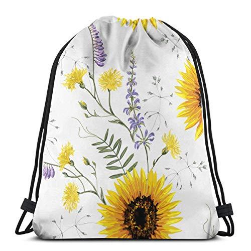 Sanme Hermoso Dibujado a Mano Vintage Floral Pattern Background con Flores Silvestres de Verano, Girasol. Mochila con cordón