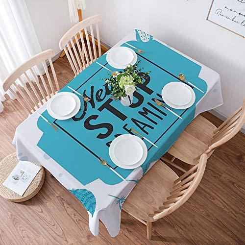 Tovaglia resistente in cotone e lino, per tavoli rettangolari,Citazione, colori stilizzati retrò stilizzati non smettono mai di sognare, lavabile, per giardino, stanza, decorazione tavolo, 140x200 cm
