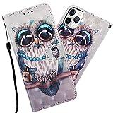 Asdsinfor iPhone 11 Pro Max (6,5 pulgadas), moda linda, transparente, suave TPU, creativa, brillante, con purpurina líquida, para iPhone 11 Pro Max, YB-3D:Gray Owl