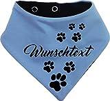 KLEINER FRATZ beidseitiges Multicolor Hundehalstuch Wendehalstuch für Hund/Katze Dog Pet Tuch Ihrem Wunschtext (Gr.2 - Halsumfang 31-35 cm, hellblau-Marine)