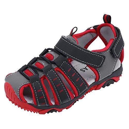 YWLINK Sandalias Deportivas NiñOs Zapatos para NiñOs Punta Cerrada Verano Playa Sandalias Zapatos,Zapatillas Antideslizante Fondo Blando Casuales(Rojo,27EU)