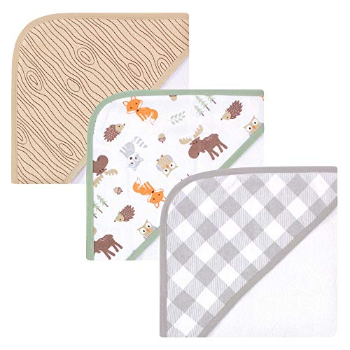 Hudson Baby Unisex Baby Cotton Rich Hooded Towels, Woodland, One Size