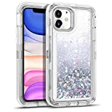 WESADN Case for iPhone 11 Case for Women Girls Glitter Cute Protective Shockproof Heavy Duty Clear Case with Sparkle Bling Quicksand Hard Bumper Soft TPU Cover for iPhone 11,6.1 Inches,Silver