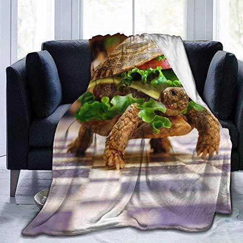Manta de microfibra ultrasuave, divertida hamburguesa de tortuga, decoración del hogar, manta cálida para sofá o cama, 60 x 127 cm