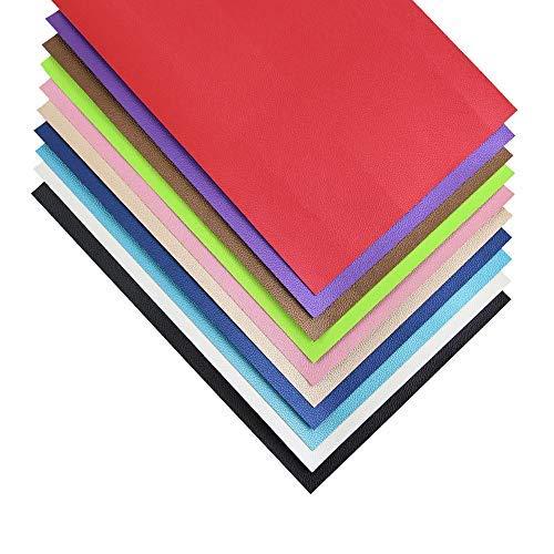 Bastelleder-Stoff, genarbtes Kunstleder, PU-Vinyl, für Schleifen, Stirnband, Ohrringe, A4, 10 Farben