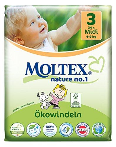 Moltex Nature No. 1 Ökowindeln, Größe 3 (Midi), 4-9 kg, (1 x 34 Windeln)