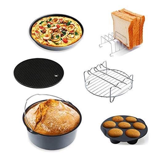 FWKTG 6/7/8 Zoll Luftfritteuse Zubehör Set Friteuse Airfryer Accessoires 6 Stücke Passend für 3.5L - 5.6L luftfrittierer, Heißluftfritteuse Zubehor Backform, Pizza Pan, Silikonmatte, Grillrost