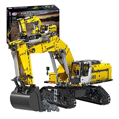 Modelo de bloques de construcción de excavadora Technic, 2071 piezas, excavadora grande de 2.4G RC, excavadora de orugas motorizada con motores, compatible con Lego A,68 * 25 * 27cm