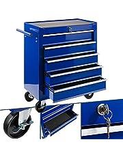 Arebos Werkplaatswagen 5 vakken/centraal afsluitbaar/anti-slip coating/wielen met parkeerrem/massief metaal/rood, blauw of zwart