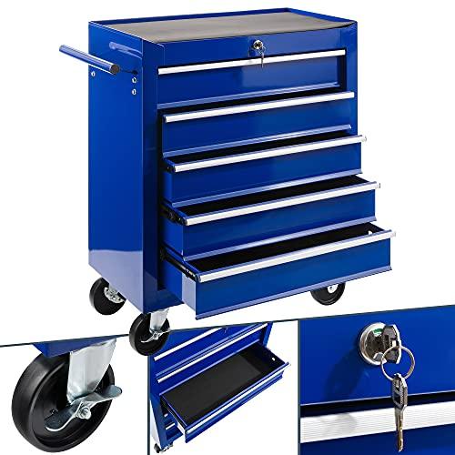 Arebos carrello da officina a 5 scomparti   con serratura centrale   rivestimento antiscivolo   ruote con freno di stazionamento   metallo massiccio   blu
