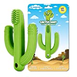 Cactus Baby Teething Toys for Newborn Infants and Toddlers - Self-Soothing Pain Relief Soft Silicone Teether and Training Toothbrush for Babies, BPA Free, Soothes Babies Sore Gums