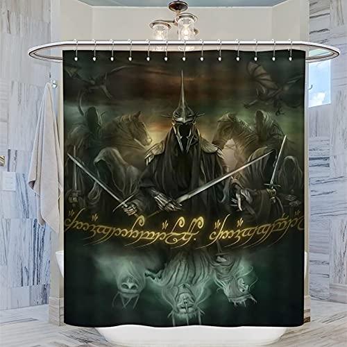 DRAGON VINES Cortina de ducha decorativa para baño, 160 x 183 cm, diseño de El Señor de los Anillos Nazgul Ringwraith