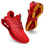 incarpo Scarpe da ginnastica da uomo, leggere, traspiranti, da corsa, da corsa, per lo sport e il jogging, Rosso (Colore: rosso), 39 EU