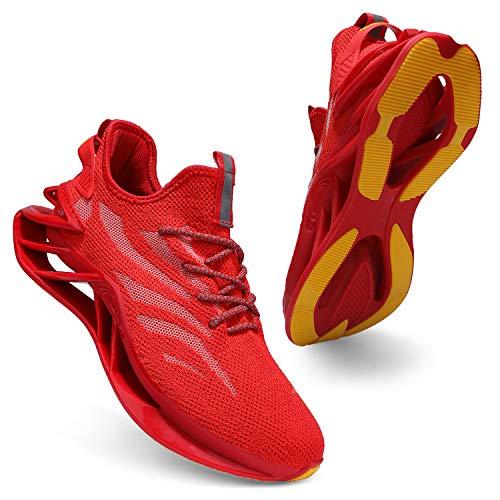 incarpo Zapatillas de deporte para hombre, ligeras, transpirables, para correr, para calle., color Rojo, talla 41 EU