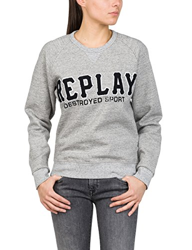 Replay Damen W3930D.000.22604 Sweatshirt, Grau (Grey Melange M15), X-Large