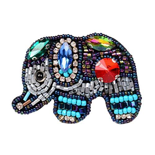 FENICAL Parche de Elefante Hecho a Mano Coloridos Granos de Diamantes de imitación Tela Hierro en Parches DIY decoración Apliques