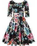 MINTLIMIT 50s 60s Vintage Swing Picnic Party Casual Cocktail Dress (Floral Black,Size XL)