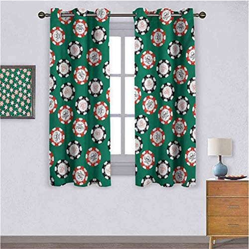 "Casino Grommets Curtain Set of 2 Panels Stylized Poker Chips Pirate Symbols Money Diagonal Bones Skull Risk Artwork Suitable forThe best choice for bedroom and living room W55""x L63"" Jade Green Red"