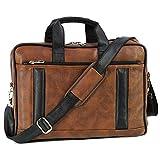 Storite PU Leather Laptop bag fits upto 14 inch Laptop Messenger Organizer Bag/Shoulder Sling Office Bag for Men & Women – (39 x 28 x 6 cm, Black Brown)