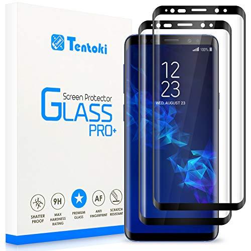 Tentoki Verre Trempé pour Samsung Galaxy S9 Plus / S9+, [Lot de 2] [Couverture Complète] Film Protection Ecran Vitre HD, [sans Bulles, Facile à Installer] Dureté 9H pour Samsung Galaxy S9 Plus / S9+