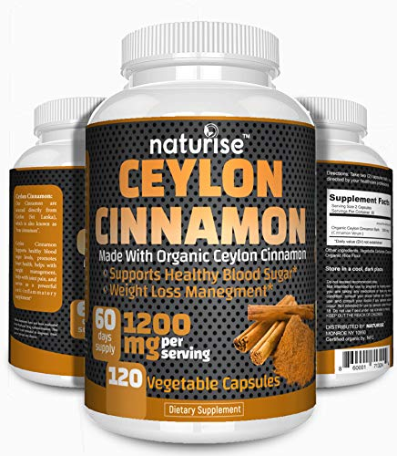 Ceylon Cinnamon Capsules (Made with Organic Cinnamon Powder) 120 Cinammon Capsules, 1200mg High Potency, 60-Day Supply, Non-GMO, Vegan, Support Healthy Blood Sugar Supplements, Weight Loss Management
