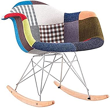 Urbancart Patchwork Rocking Upholstered Modern Arm Chair with Metal Legs for Home, Office, Indoor, Outdoor (Multicolor)