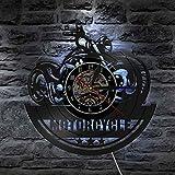 KEC American Classic Motocicleta Arte de Pared Reloj de Pared Signo de Garaje Moto Vintage Disco de Vinilo Reloj de Pared Hombre Cueva Decoración Ciclistas Regalo Relojes de Pared