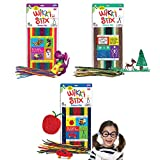 Arts and Crafts for Kids Triple Play Pack, Non-Toxic, Waxed Yarn, Fidget Toy, Reusable Molding and Sculpting Playset, American Made by Wikki Stix for Doodlers, 3 Color Sets, 144 Count