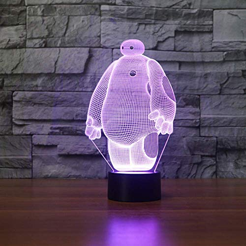 Baymax 3D Lamp 7 Color Led Night Lámparas Para Niños Touch Led Usb Lámpara De Mesa Lampe Baby Sleeping Nightlight Light Motion Sensor