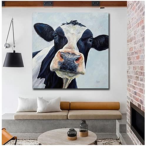 Cuadro moderno lindo de la pared de la vaca impreso lienzo pintura al óleo sobre impresiones carteles impresiones para la decoración de la sala de estar y dormitorio